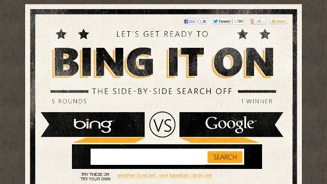 Bing It On: Compara Bing con Google por tí mismo