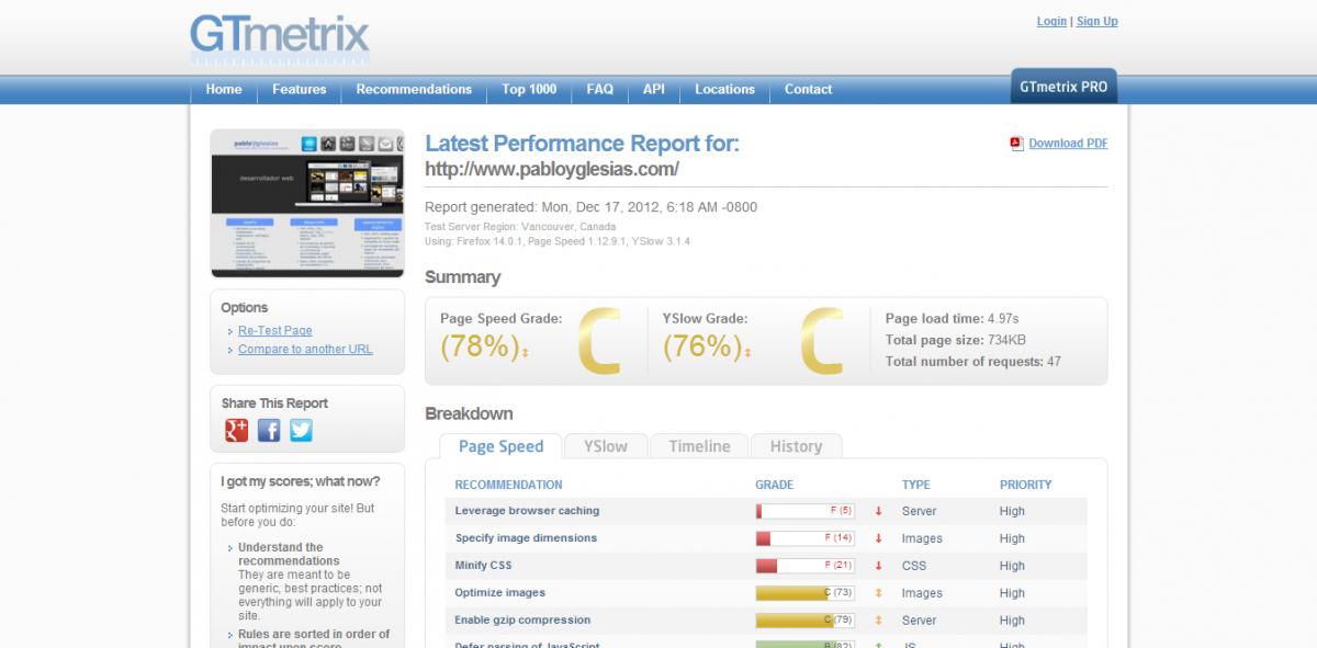 Herramientas Web: GTMetrix, consejos para acelerar tu web