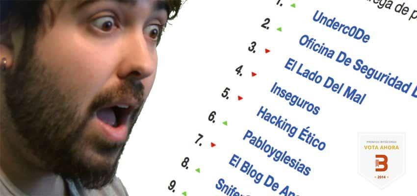 ¡Ya queda menos! Sextos en la provisional Premios Bitácoras 2014