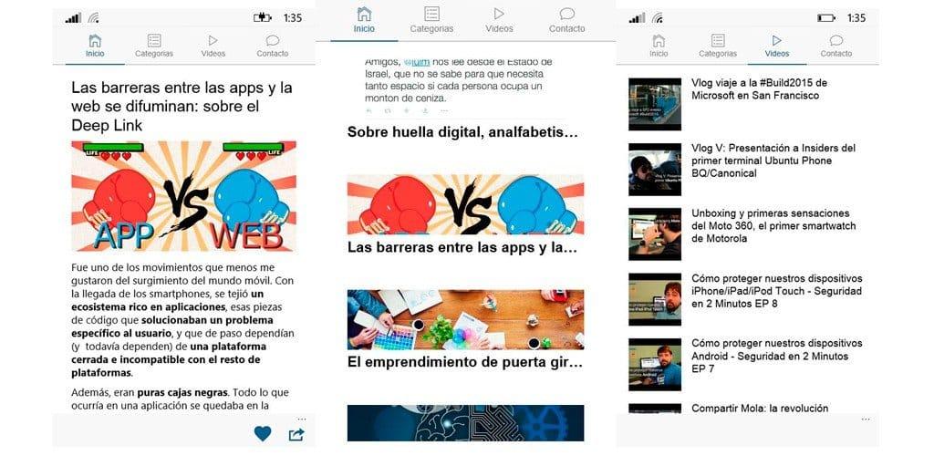 PabloYglesias App Funcionalidades