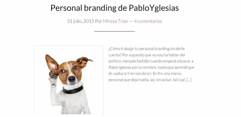 Respondiendo al artículo de Mireya Trías sobre mi branding personal
