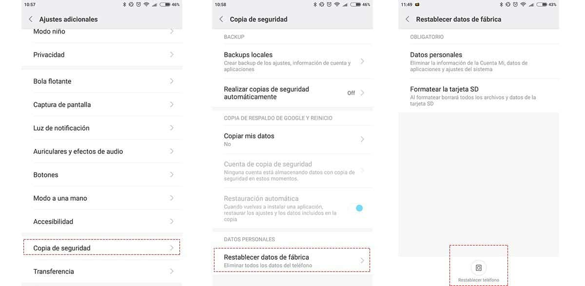 restablecer telefono android