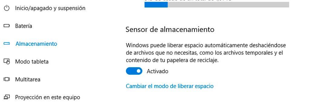 sensor almacenamiento windows10