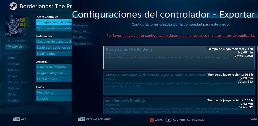 Steam Controller interfaz