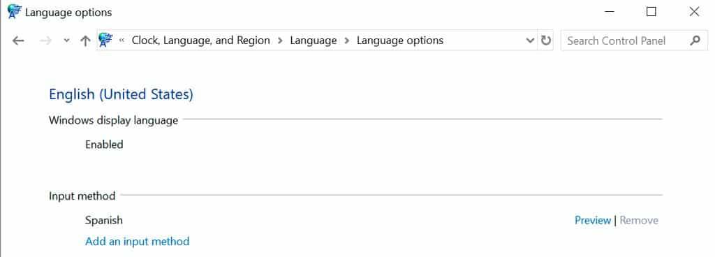 region idioma