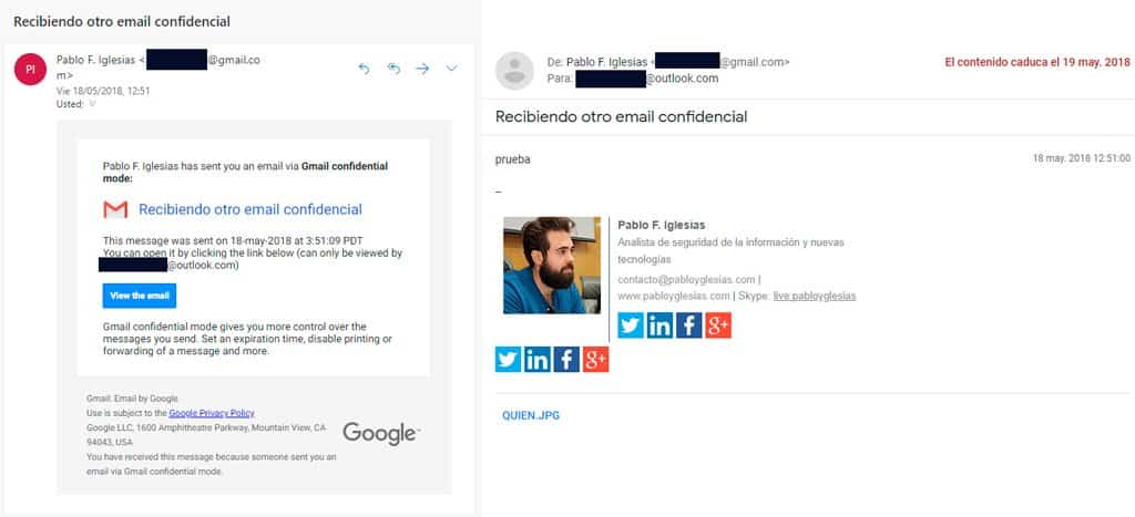 recibir email fuera gmail