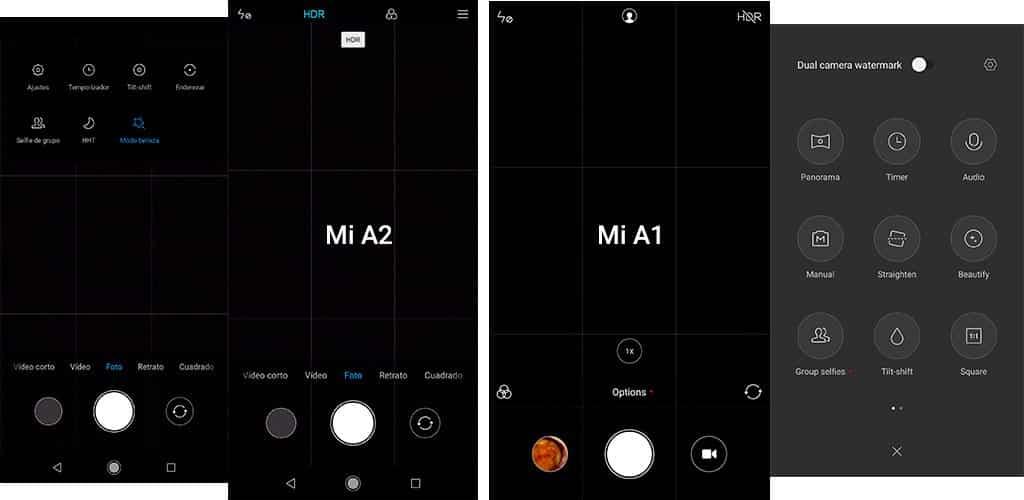 camara Xiaomi Mi A2 frente Mi A1