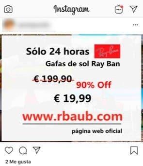rayban fraude instagram