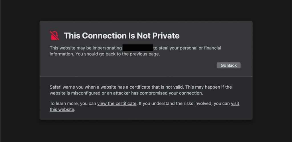 la conexion no es privada safari