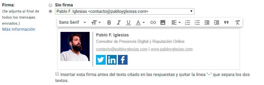 configurar firma gmail
