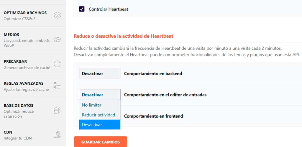 heartbeat wordpress wp-rocket