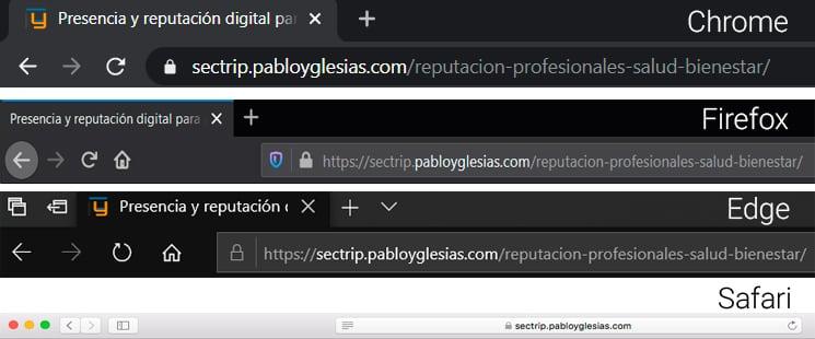 Mostrar URL segun navegador