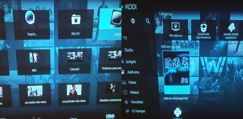 HBO Go Eu Kodi Amazon Fire TV pantallazos