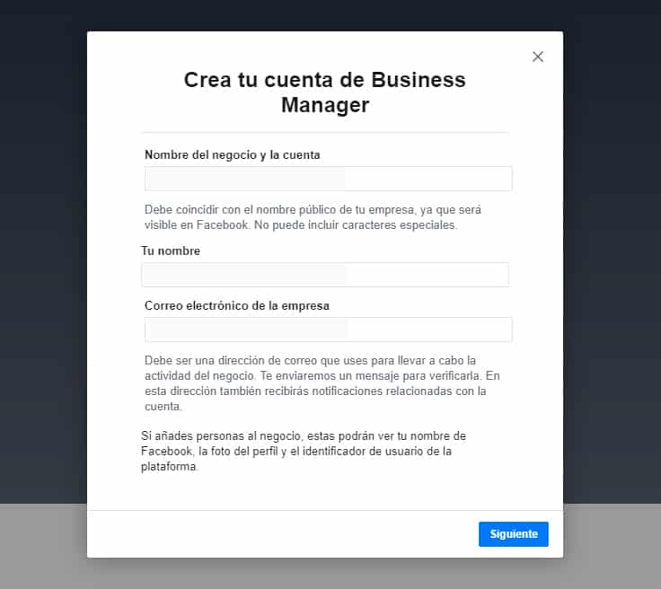 crear business manager