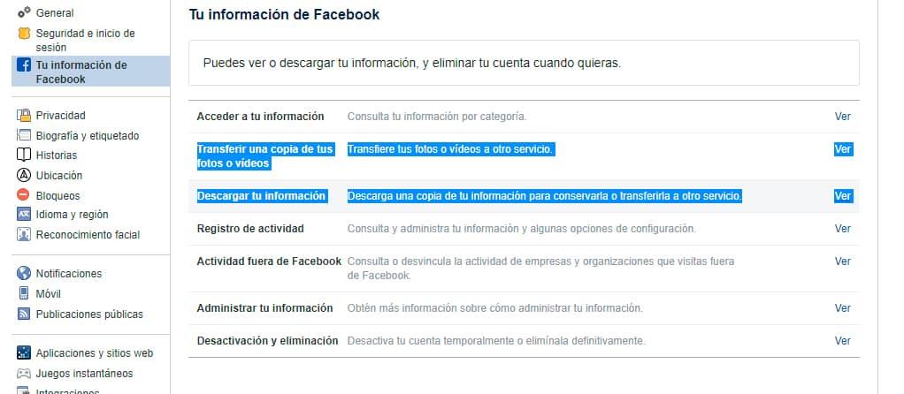 Descargar transferir fotos facebook