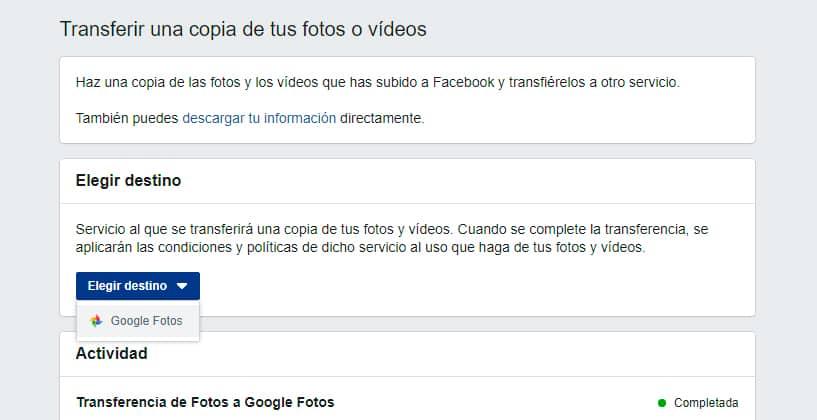 transferir fotos facebook otros servicios