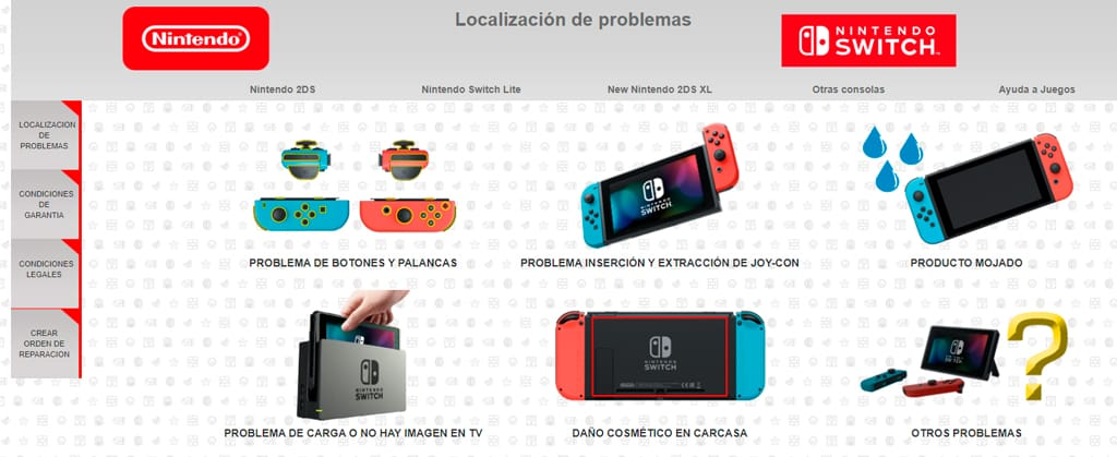 web reparaciones nintendo switch