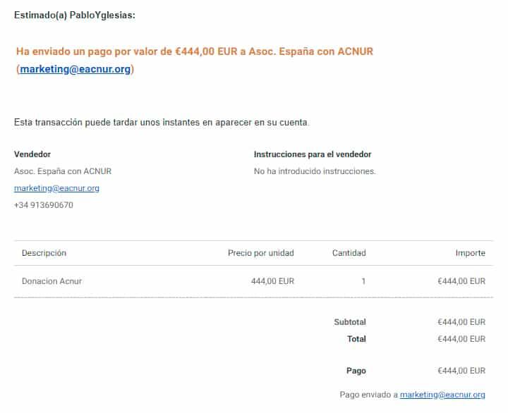 Donacion quinta campana solidaria pabloyglesias