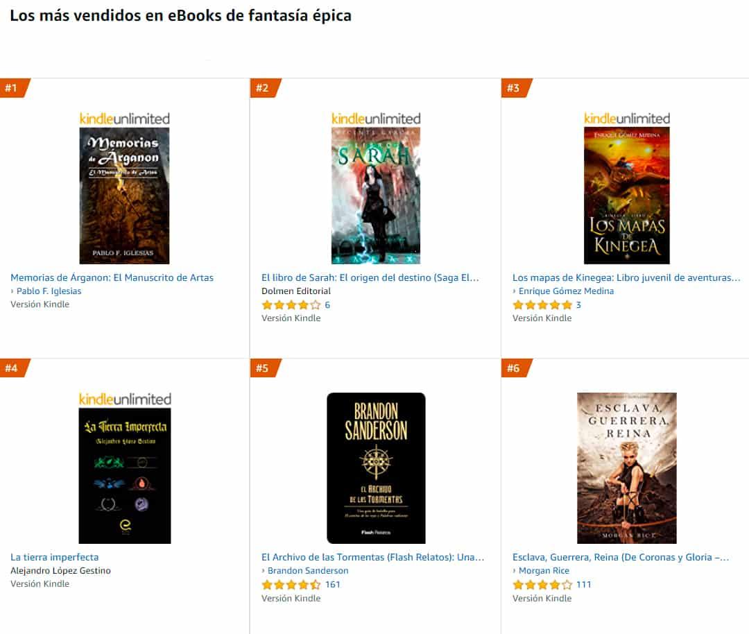 ventas libro fantasia epica