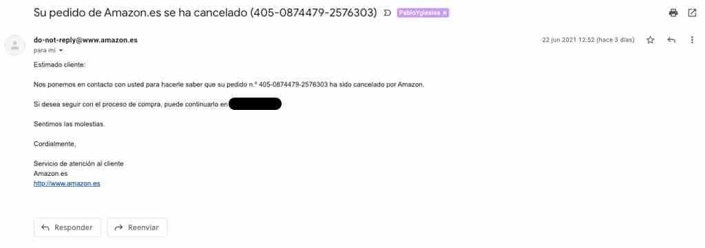 estafa amazon pedido cancelado email