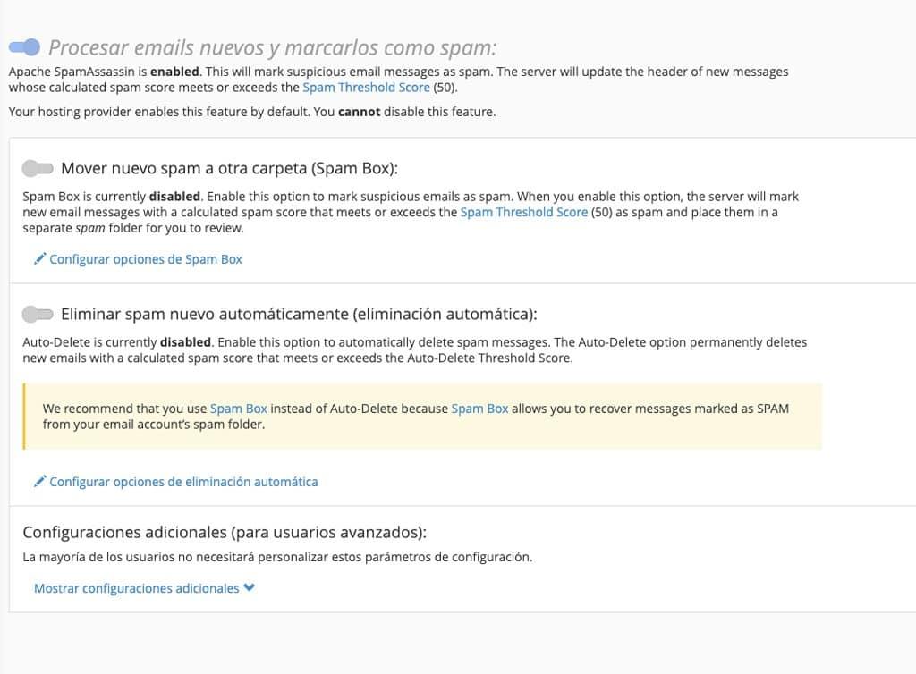 filtros anti-spam cpanel